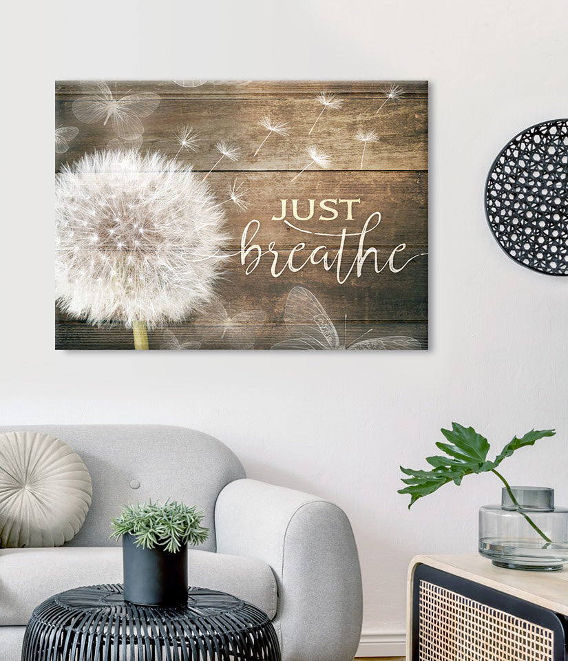 Home Wall Art: Just Breathe V7 (Wood Frame Ready To Hang)