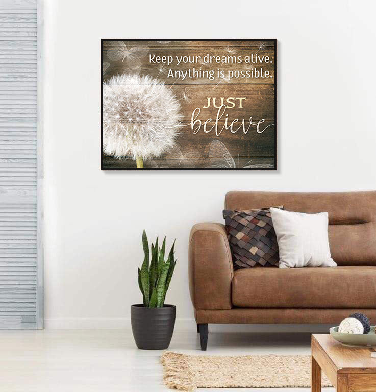 Inspire Wall Art:  Keep Your Dreams Alive (Wood Frame Ready To Hang)