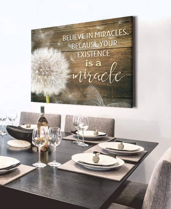 Inspire Wall Art:  Believe in Miracles (Wood Frame Ready To Hang)