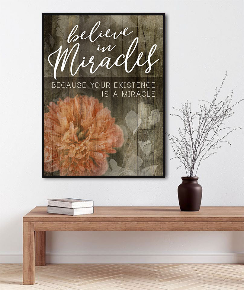 Inspire Wall Art:  Believe in Miracles V2 (Wood Frame Ready To Hang)