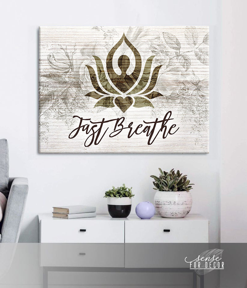 Yoga Wall Art: Just Breathe V15 (Wood Frame Ready To Hang)