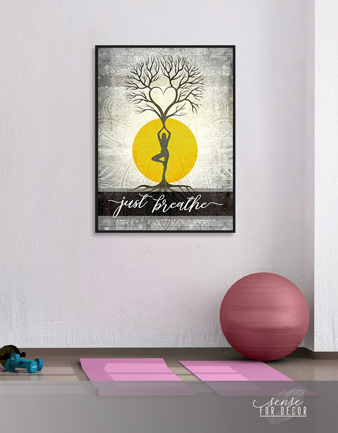 Yoga Wall Art: Just Breathe V16 (Wood Frame Ready To Hang)