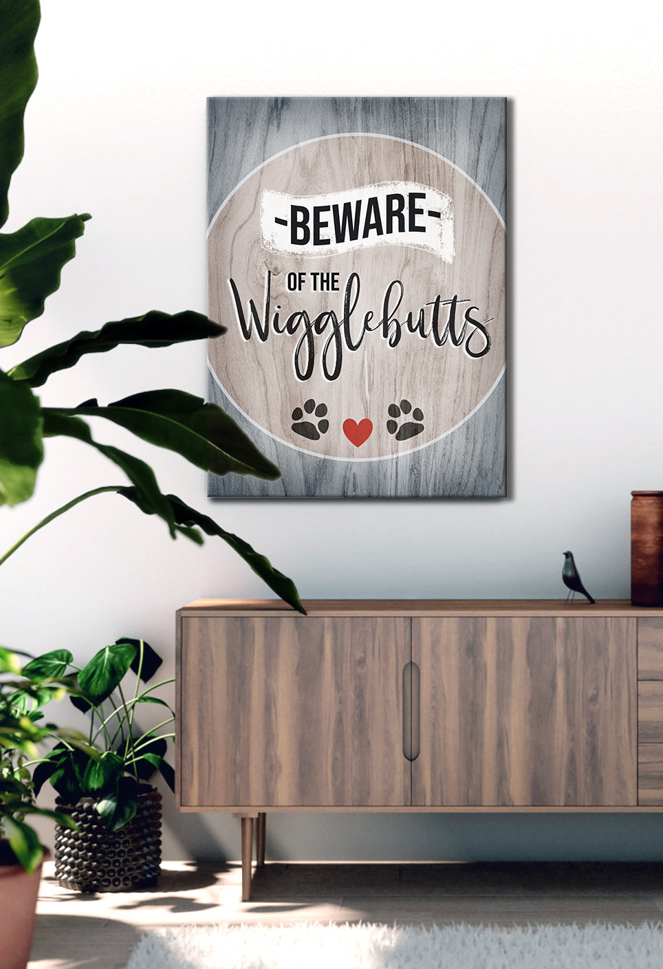 Pet Wall Art: Beware Of The Wiggle Butts V2 (Wood Frame Ready To Hang)