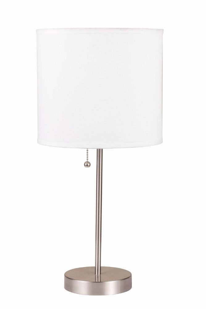 Lamps: Sophisticated Metal Table Lamp, White & Silver Set Of 2