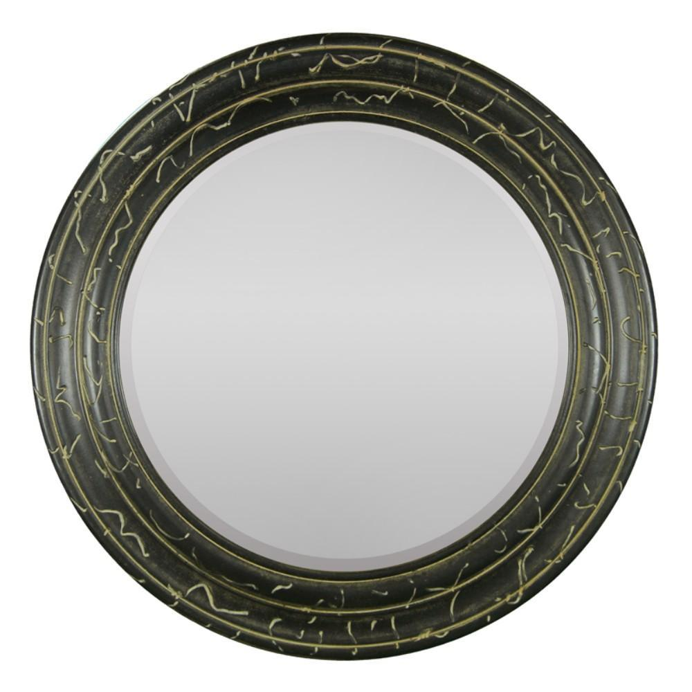 Mirror: Mirror In Round Wood Frame