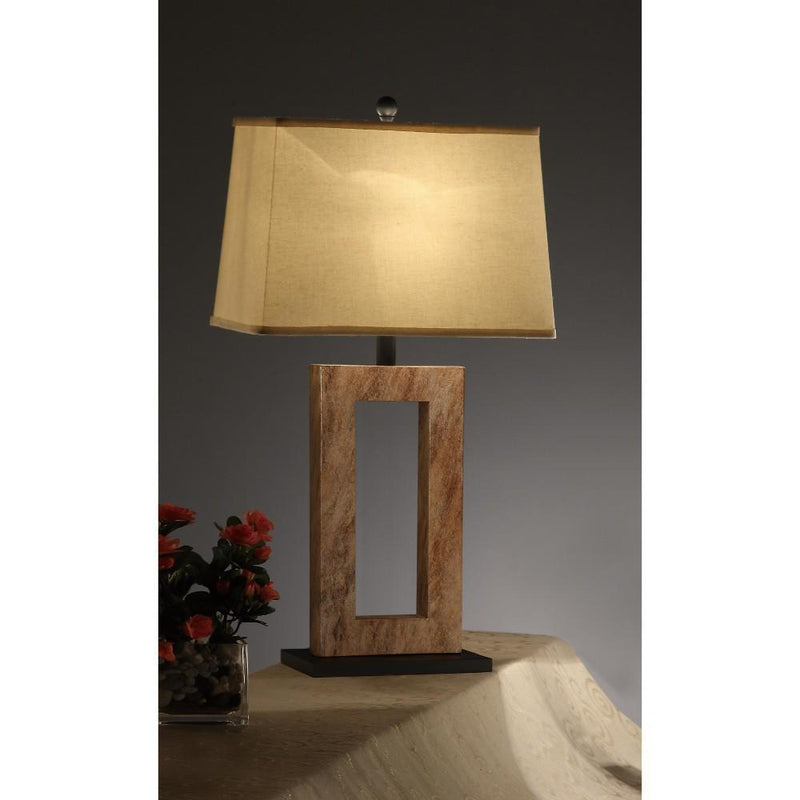 Lamps: Polyresin Fabric Shade Lamp Set Of 2