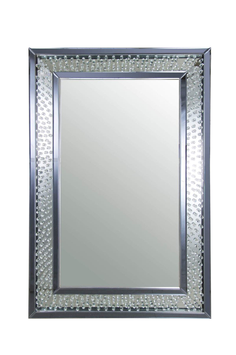 Mirror: Rectangular Wall Accent Mirror With Crystal Insert Frame