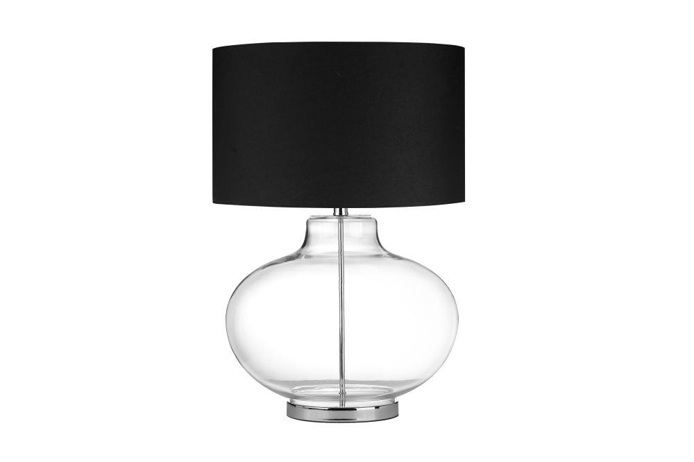 Lamps: Glass Sphere Table Lamp With Metal Pole Running Inside And Drum Shade