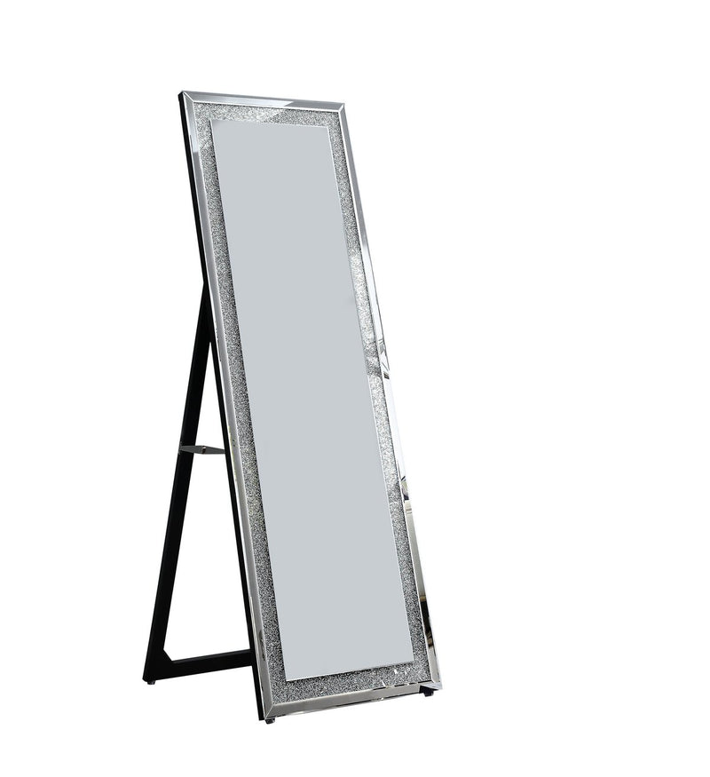 Mirror: Faux Crystal Accented Wooden Framed Floor Mirror With Beveled Sides
