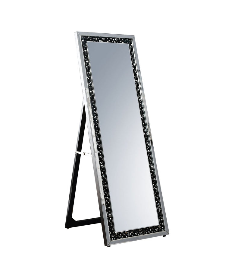 Mirror: Faux Crystal Inlaid Wooden Framed Floor Mirror With Fold Out Back Leg