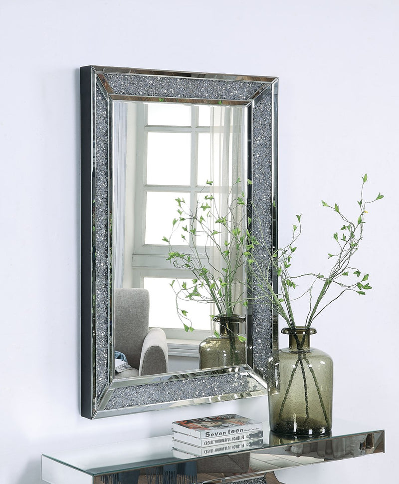 Mirror: Rectangular Faux Crystal Inlaid Mirrored Wall Decor With Wooden Backing
