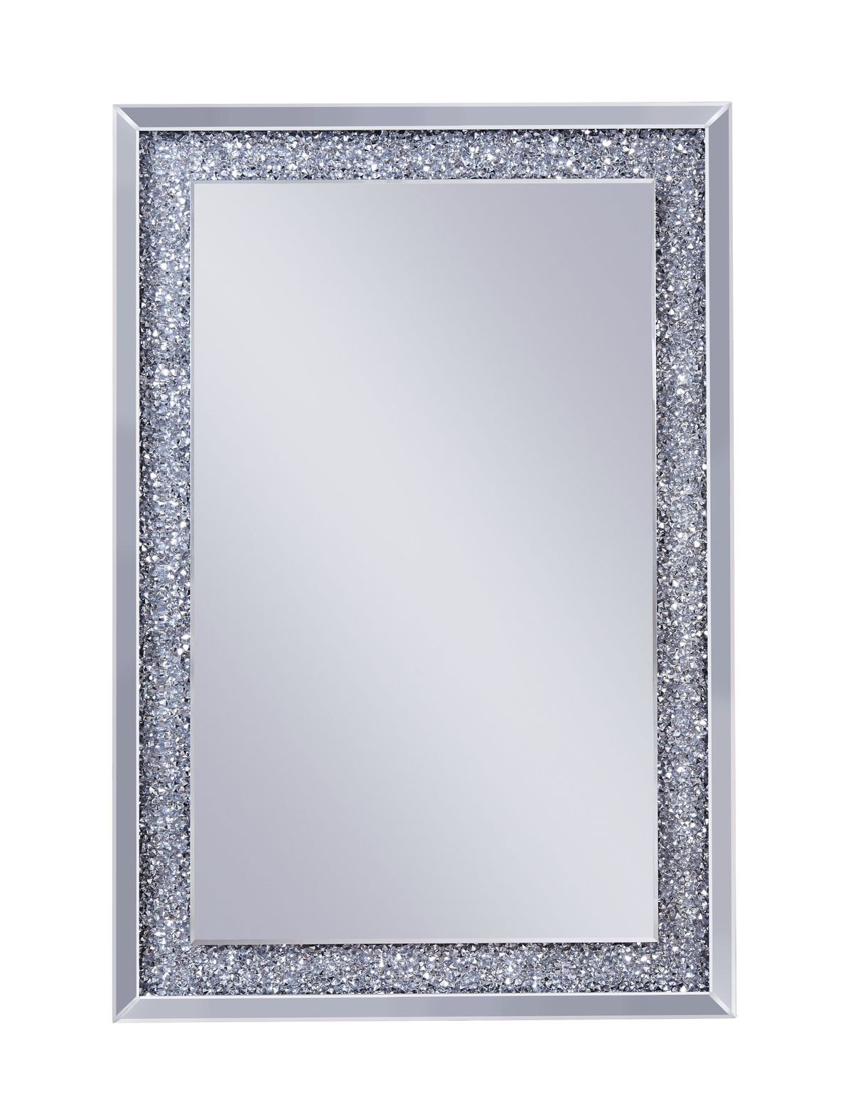 Mirror: Mirrored Wooden Frame Accent Wall Decor With Faux Crystal Inlay