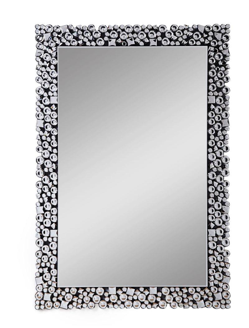 Mirror: Wooden Backing Wall Decor With Faux Crystals Inlaid Border,