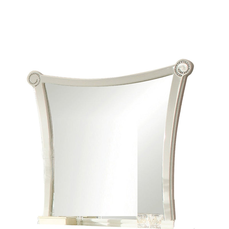 Mirror: Crystal Inlay Wooden Frame Mirror With Concave Sides