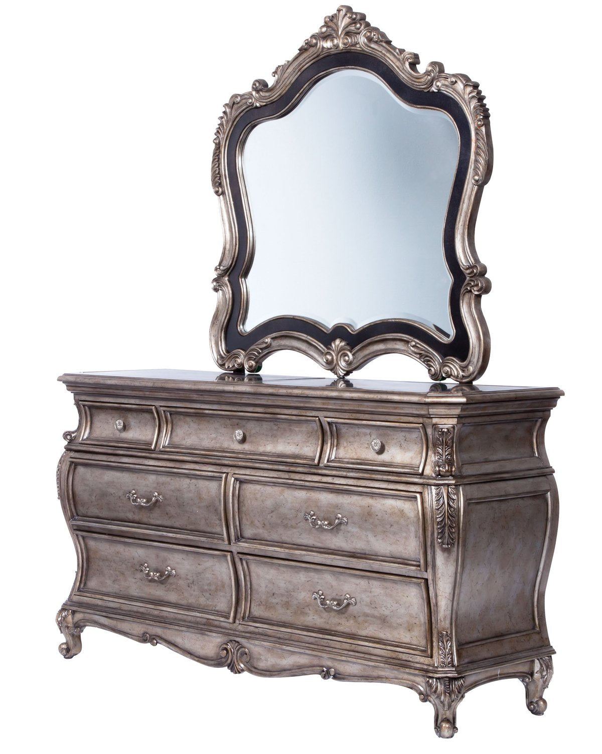 Mirror: Traditional Mirror With Wooden Scrollwork Crown