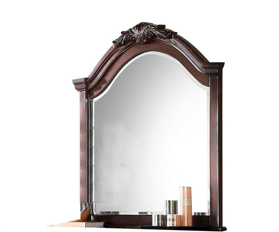 Mirror: Traditional Wooden Mirror With Arched Top And Scrollwork Crown