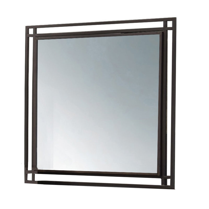 Mirror: Square Shape Wooden Mirror With Metal Dual Frame