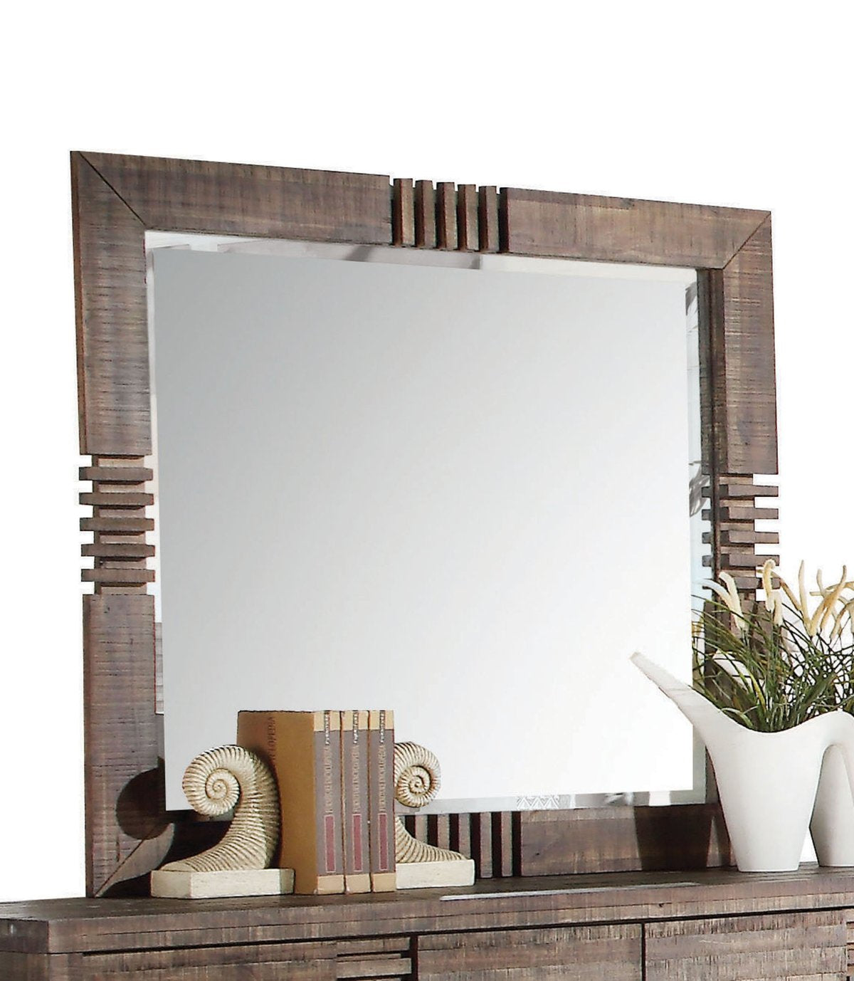 Mirror: Rectangular Wooden Frame Mirror With Slat Pattern