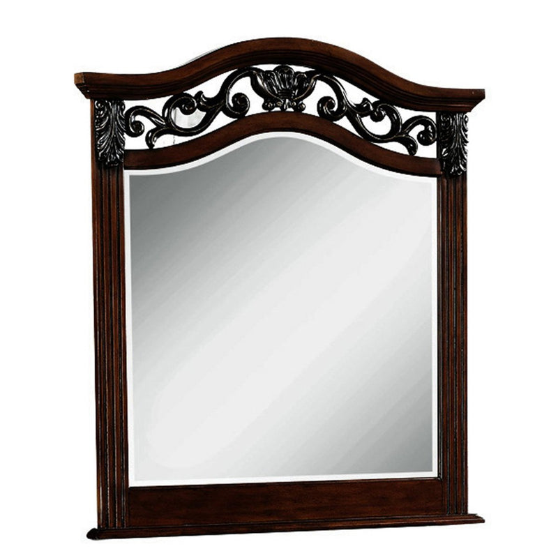 Mirror: Wooden Mirror With Scalloped Top And Scrollwork Details