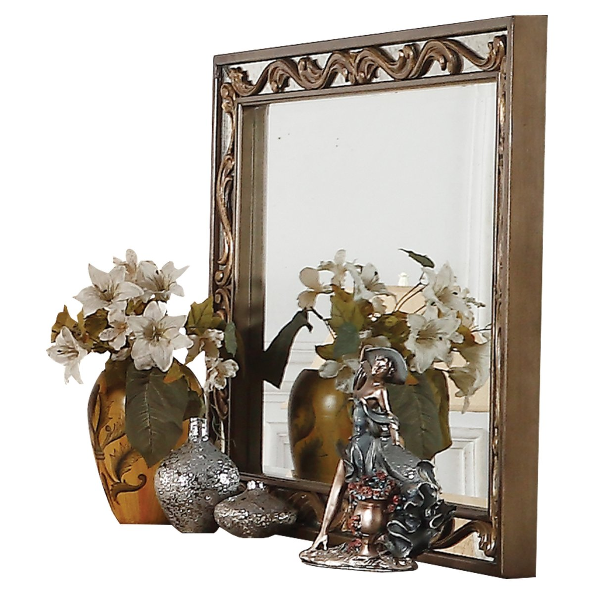 Mirror: Rectangular Wooden Mirror With Raised Scrolled Inlays