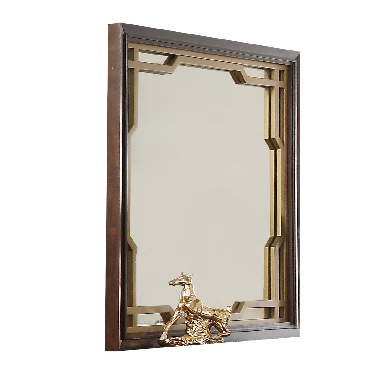 Mirror: Rectangular Wooden Mirror With Metal Cutout Pattern
