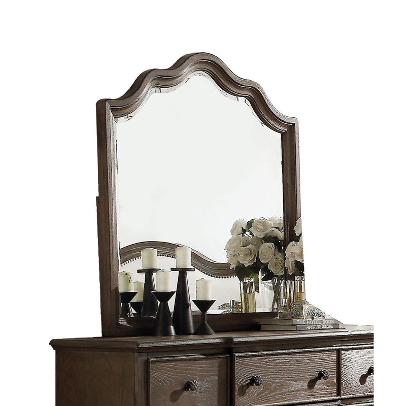 Mirror: Wooden Rectangular Shape Mirror With Scalloped Top