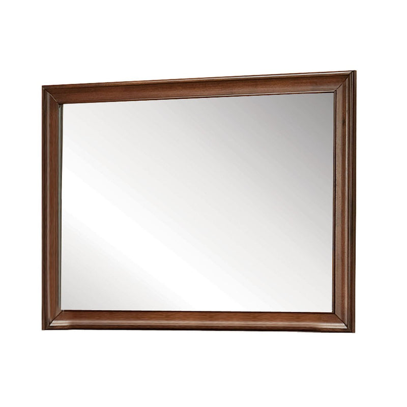Mirror: Transitional Style Wooden Mirror With Beveled Edge
