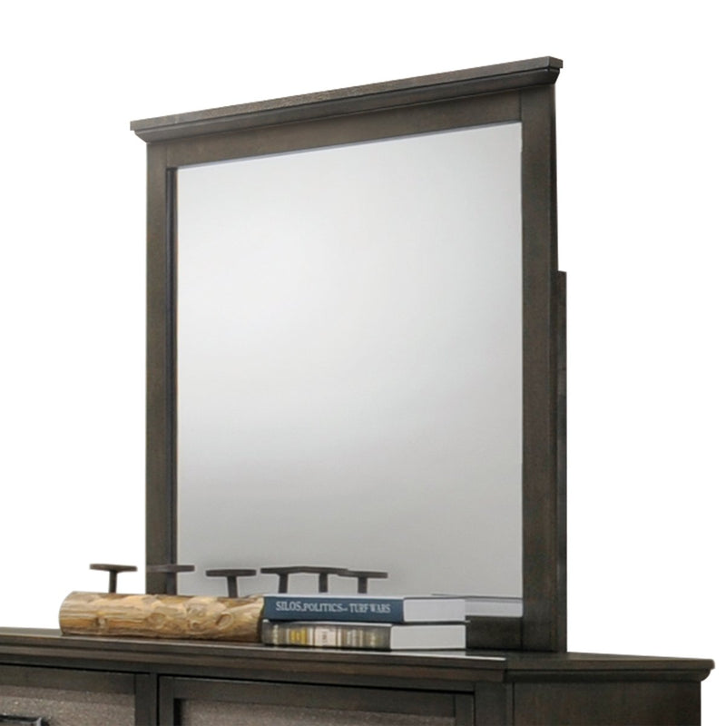 Mirror: Square Wooden Frame Mirror With Raised Moulded Top