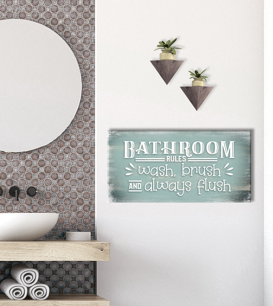 Bathroom Wall Art Bathroom Rules Wood Frame Ready To Hang