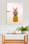 Pineapple Wall Art: Beach Colors Pineapple (Wood Frame Ready To Hang)
