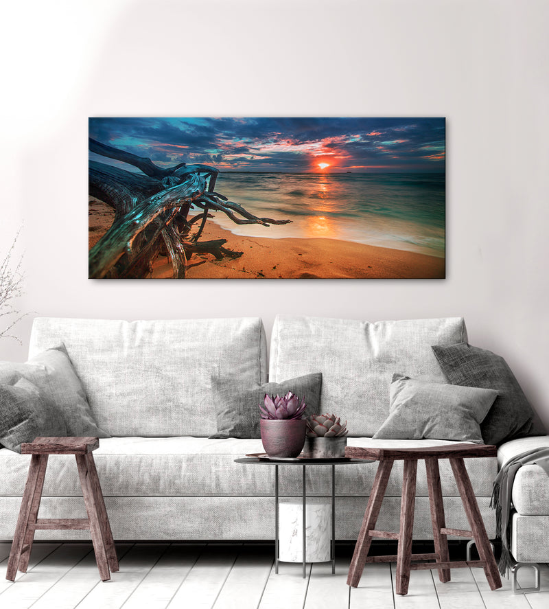 Beach Wall Art: Driftwood Sunset (Wood Frame Ready To Hang)