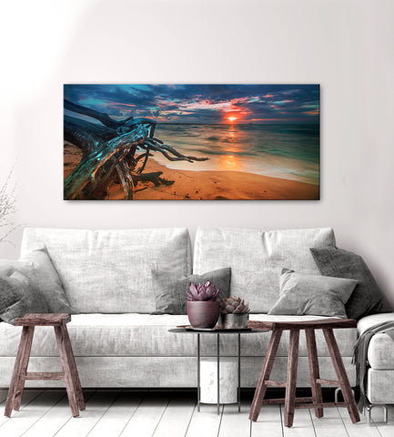 Beach Home Decor Wall Art:  Driftwood Sunset (Wood Frame Ready To Hang)