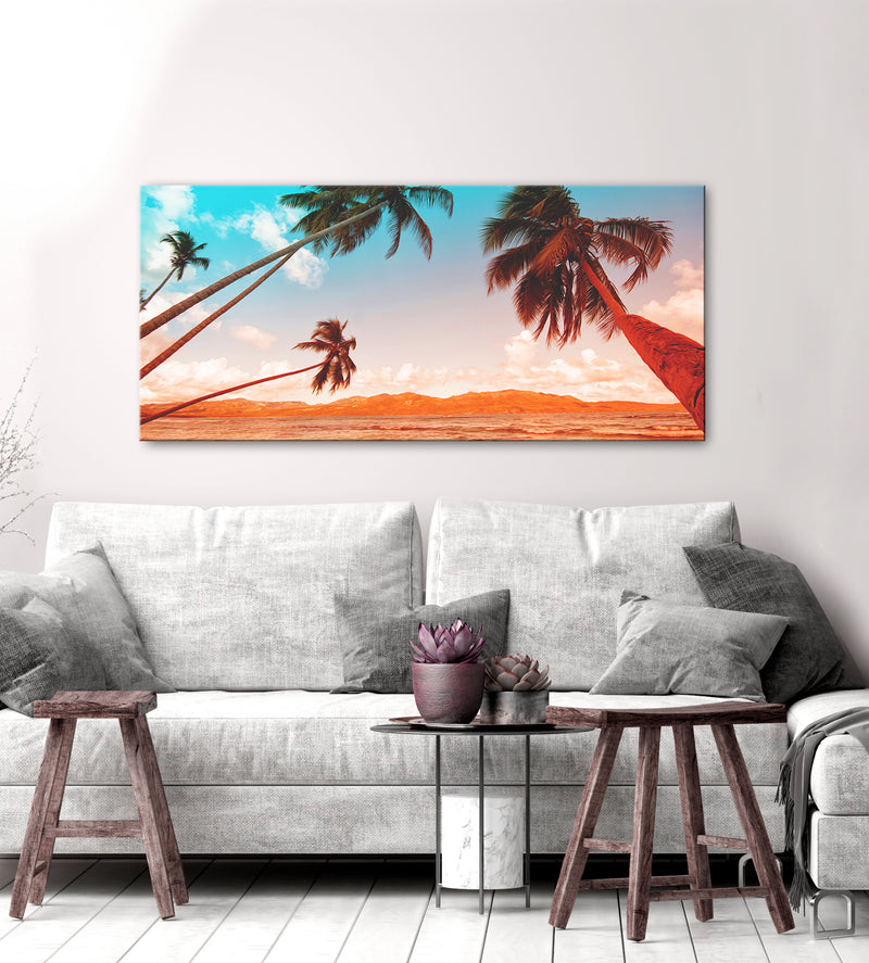 Beach Wall Art: Palms Orange and Aqua (Wood Frame Ready To Hang)