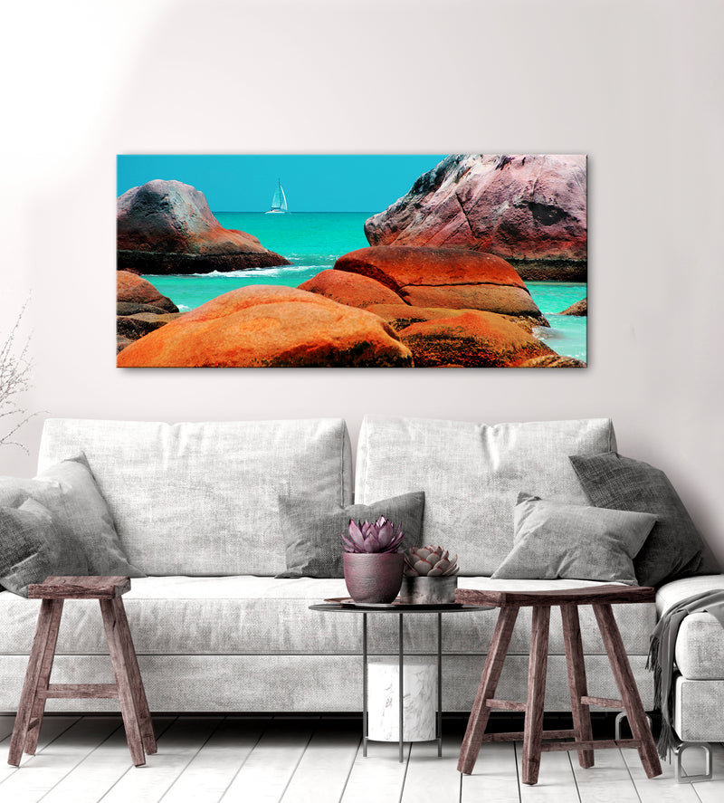 Beach Wall Art: Sailboat Rocks (Wood Frame Ready To Hang)