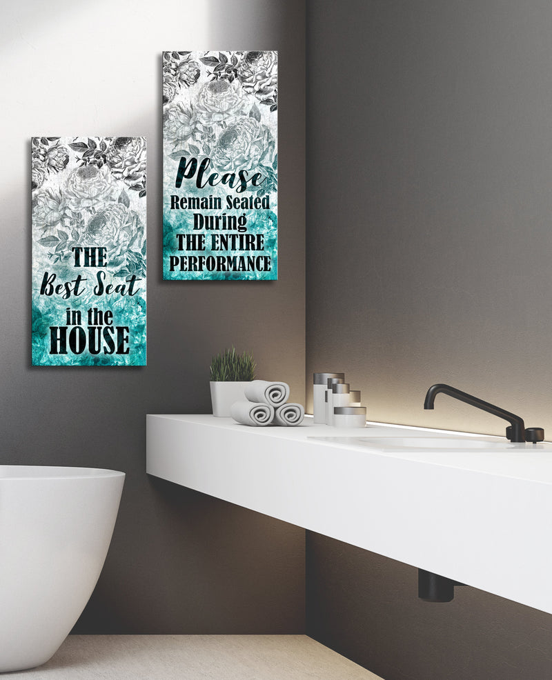 Bathroom Wall Art: Best Seat , Remain Seated 2 Piece Bathroom (Wood Frame Ready To Hang)