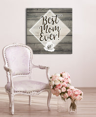 I Love Mom Wall Art: Best Mom Ever (Wood Frame Ready To Hang)