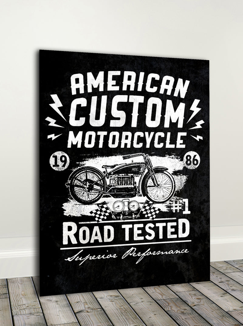 Biker Wall Art: American Custom Moto (Wood Frame Ready To Hang)