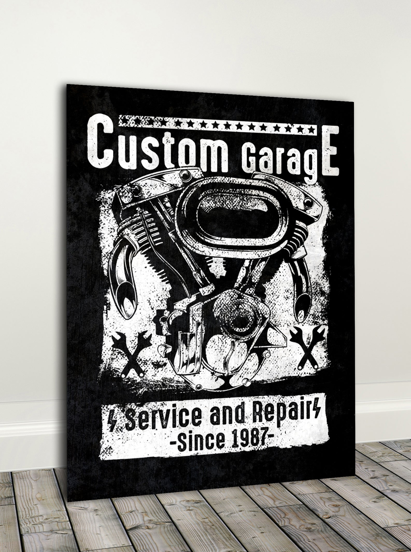 Biker Wall Art: Custom Garage (Wood Frame Ready To Hang)