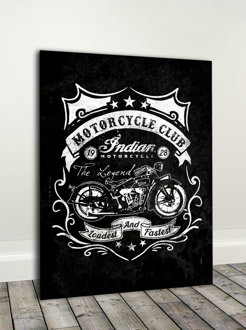 Biker Wall Art: MotoClub  (Wood Frame Ready To Hang)