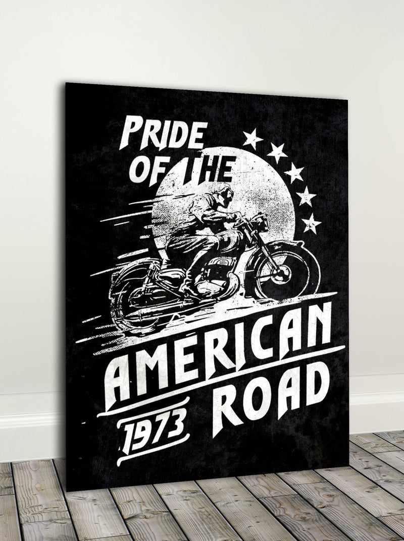 Biker Wall Art: Pride Of The  (Wood Frame Ready To Hang)