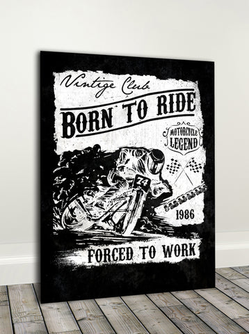 Biker Wall Art: Born To Ride (Wood Frame Ready To Hang)