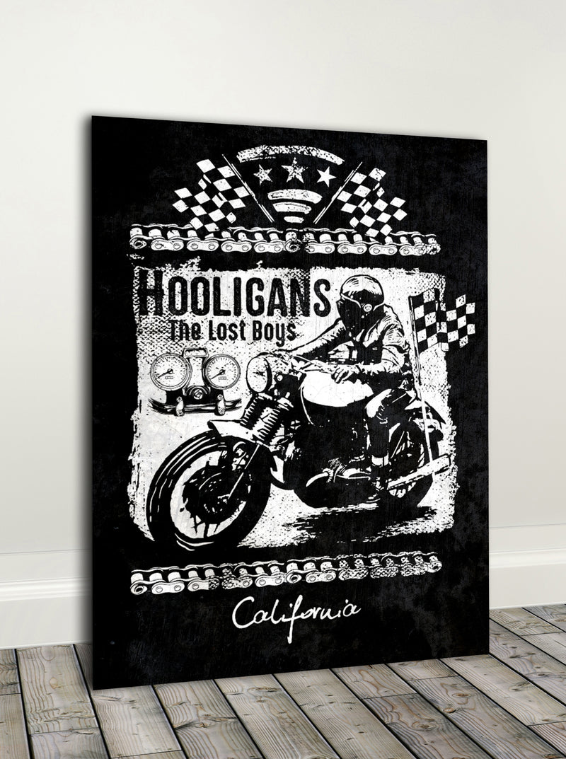 Biker Wall Art: Hooligans (Wood Frame Ready To Hang)