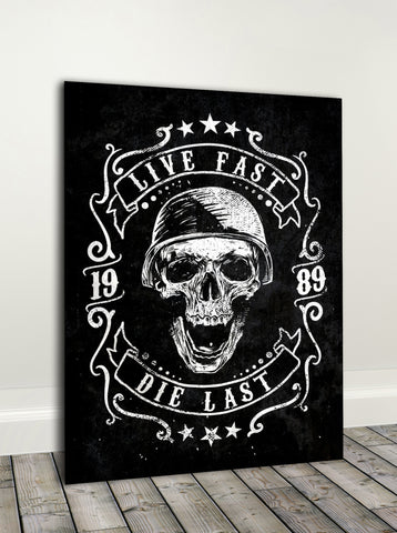Biker Wall Art: Live Fast Die Last  (Wood Frame Ready To Hang)