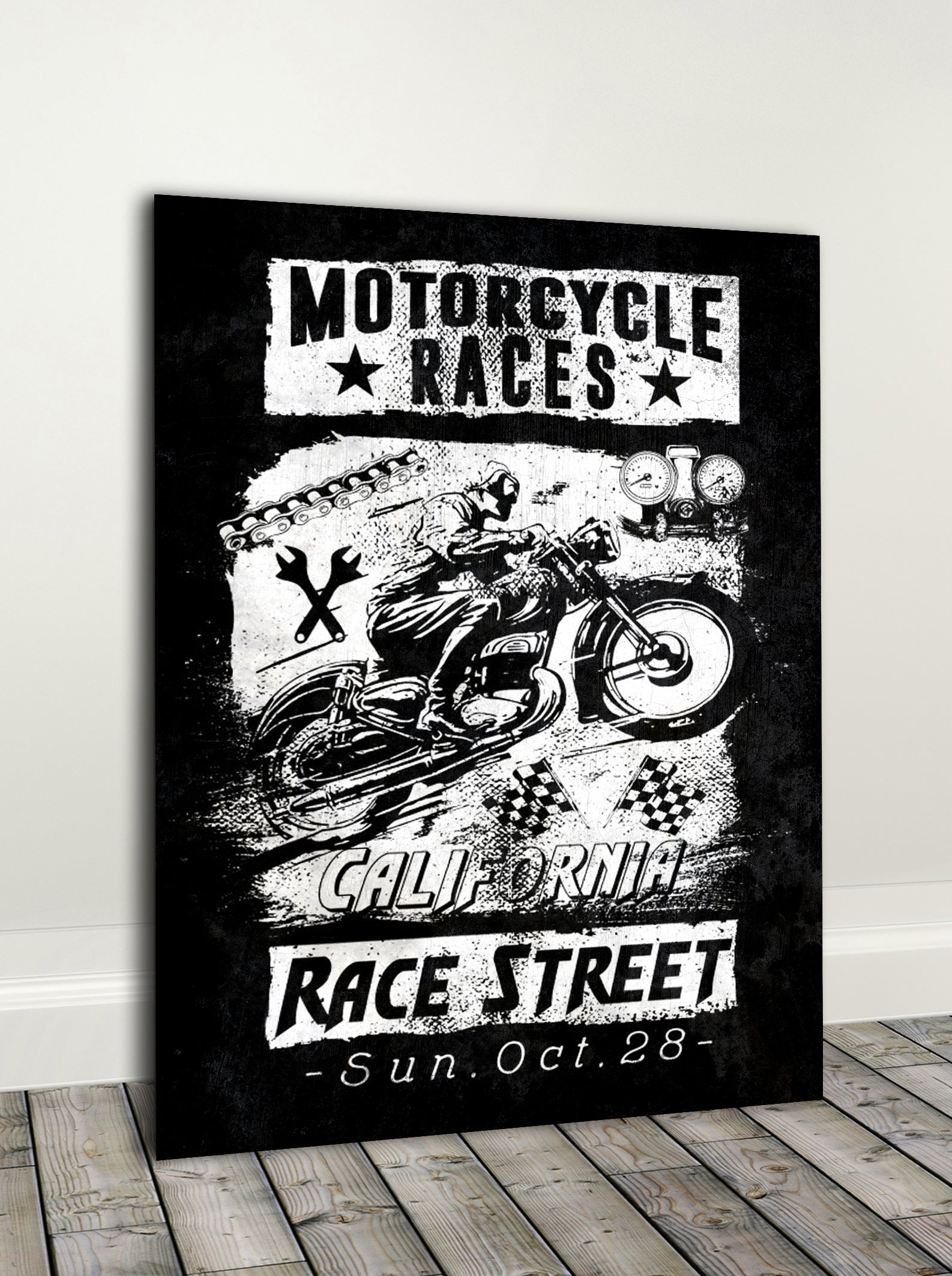 Biker Wall Art: Moto Races Cali  (Wood Frame Ready To Hang)