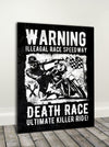 Biker Wall Art: Warning  (Wood Frame Ready To Hang)