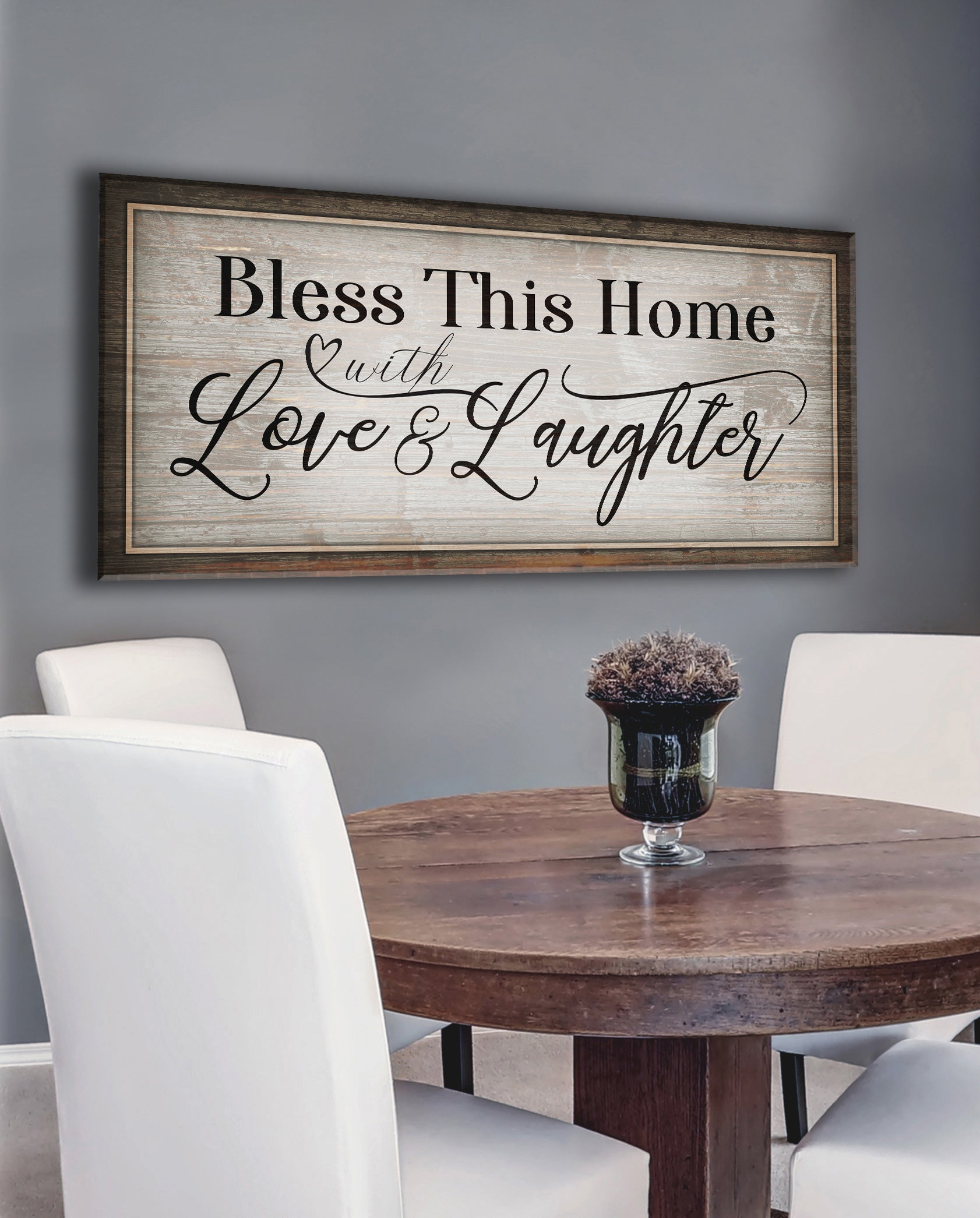 Christian Wall Art: Bless This Home With Love & Laughter V2 (Wood Frame Ready To Hang)