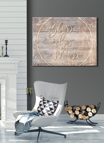 Christian Wall Art: Bless This Mess (Wood Frame Ready To Hang)