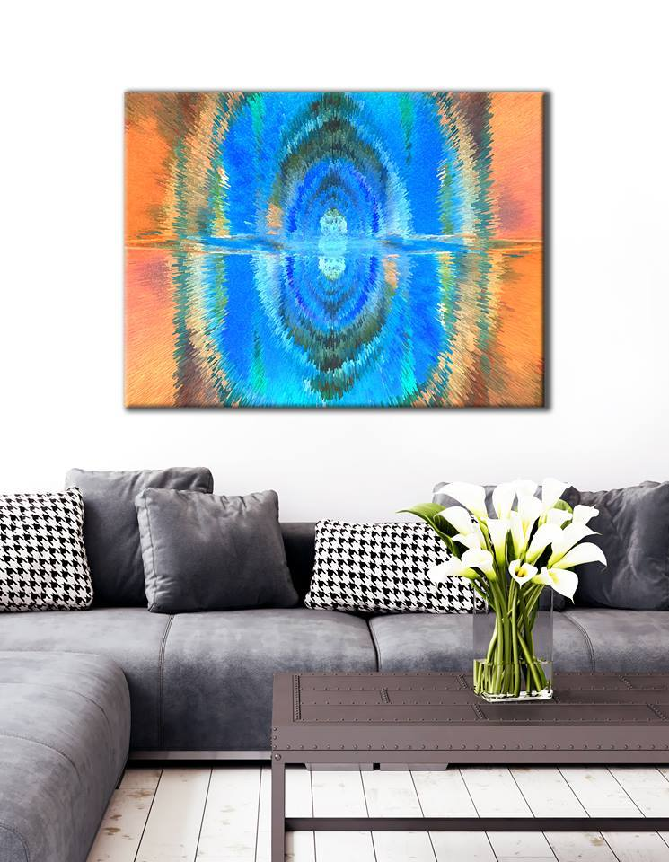 Abstract Wall Art: Blue and orange portal (Wood Frame Ready To Hang)