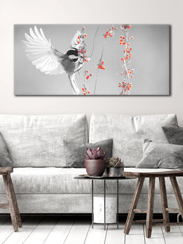 Bird Wall Art: Bird Eating Berries (Wood Frame Ready To Hang)