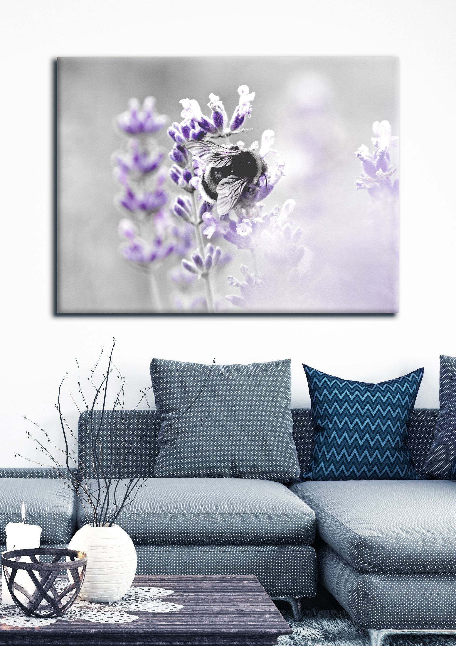 Insect Wall Art: Bumble Lavender (Wood Frame Ready To Hang)